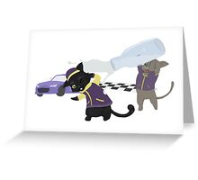 Racer Cat Victory Greeting Card