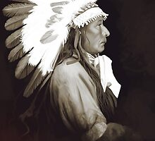Native Amerivan chief digital painting by Thubakabra