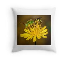 Green Bee Throw Pillow