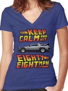 Keep Calm and Hit Eighty-Eight MPH Women's Fitted V-Neck T-Shirt