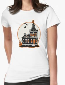 Vintage Style Haunted House - Happy Halloween Womens Fitted T-Shirt