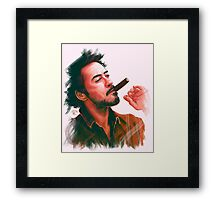Robert Downey Jr. with cigar, digital painting  Framed Print