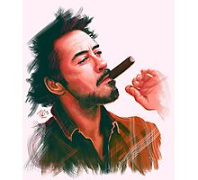 Robert Downey Jr. with cigar, digital painting  Photographic Print