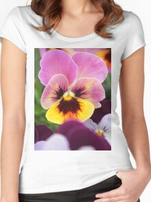 Colorful Pink and Yellow Pansy Flower Women's Fitted Scoop T-Shirt