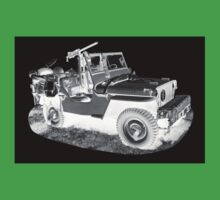 Black And White Willys World War Two Army Jeep T-Shirt