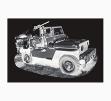Black And White Willys World War Two Army Jeep Kids Clothes