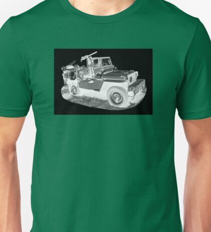 Black And White Willys World War Two Army Jeep Unisex T-Shirt