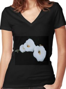 Three Calla Lilies Isolated On A Black Background Women's Fitted V-Neck T-Shirt