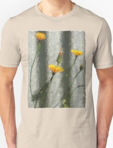 Yellow Dandelions in front of the Iron Fence Unisex T-Shirt