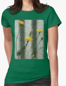 Yellow Dandelions in front of the Iron Fence Womens Fitted T-Shirt