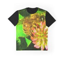 Golden Bee on Pink Clover Graphic T-Shirt