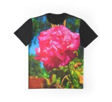 Pink Rose next to the Brick Wall Graphic T-Shirt