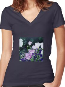 Tulips. Women's Fitted V-Neck T-Shirt