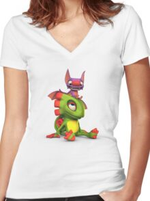 Yooka-Laylee - Seated Women's Fitted V-Neck T-Shirt