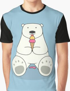Ice Cream Lover Polar Bear Graphic T-Shirt