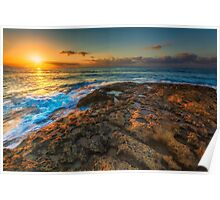 Sunrise and rocky shore Poster