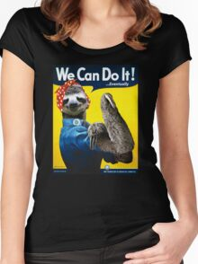 We Can Do It (...Eventually) Sloth Women's Fitted Scoop T-Shirt