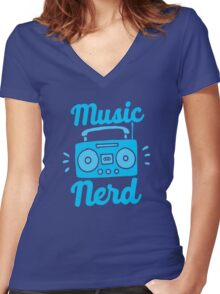 Music Nerd (with awesome 80s cassette speaker sound system) Women's Fitted V-Neck T-Shirt