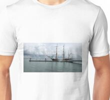 OLD SHIP IN A NEW HARBOUR. Unisex T-Shirt