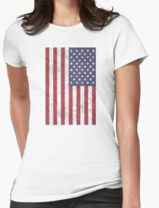 USA Flag Metal Rusty  Womens Fitted T-Shirt