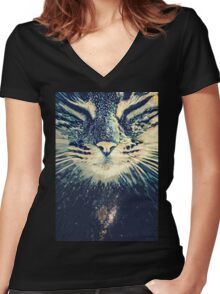 Cosmos cat Women's Fitted V-Neck T-Shirt