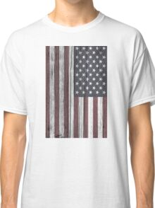 USA Flag Painted on Wood Classic T-Shirt