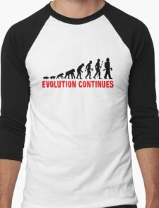 Fire Fighter Evolution Continues Funny Silhouette Men's Baseball ¾ T-Shirt