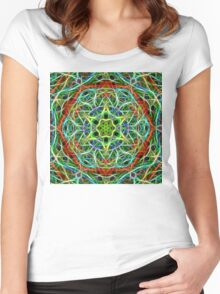 Feathered texture mandala in green and brown Women's Fitted Scoop T-Shirt