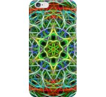 Feathered texture mandala in green and brown iPhone Case/Skin