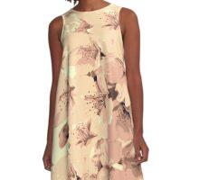 Vintage Peach Pink Cream Cherry Blossoms Illustration A-Line Dress