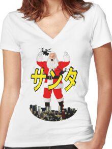 santa vs tokyo Women's Fitted V-Neck T-Shirt