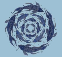 Fish Flow in Blues One Piece - Short Sleeve