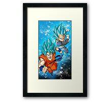 Goku and Vegeta SSGSS Framed Print