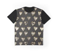 Modern Chic Black White Marble Gold Hearts Graphic T-Shirt
