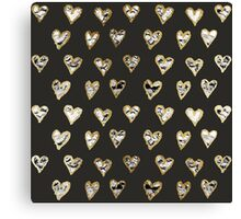 Modern Chic Black White Marble Gold Hearts Canvas Print