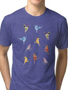 Vintage Wallpaper Birds on White Tri-blend T-Shirt