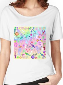Psychedelic 70s Groovy Collage Pattern Women's Relaxed Fit T-Shirt