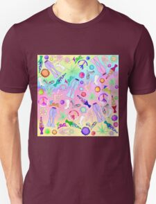 Psychedelic 70's Groovy Collage Pattern Unisex T-Shirt