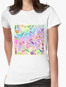 Psychedelic 70's Groovy Collage Pattern Womens Fitted T-Shirt