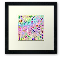 Psychedelic 70s Groovy Collage Pattern Framed Print