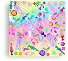Psychedelic 70's Groovy Collage Pattern Canvas Print