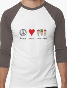 Peace, Love, And Ice Cream Men's Baseball ¾ T-Shirt