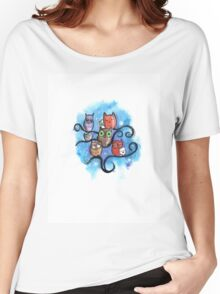 Eulen in der Nacht / Kaki Needledwarf Art  Women's Relaxed Fit T-Shirt