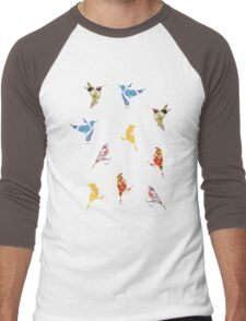 Vintage Wallpaper Birds on Black Men's Baseball ¾ T-Shirt