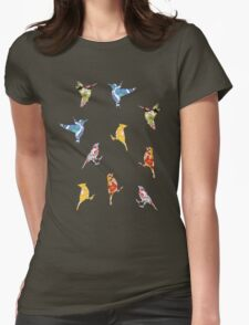 Vintage Wallpaper Birds on Black Womens Fitted T-Shirt