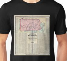 0166 Railroad Maps Barringtons new and reliable railroad map and shippers travellers guide of Pennsylvania Engrd by Ths Leonhardt showing the name of every city town and Unisex T-Shirt