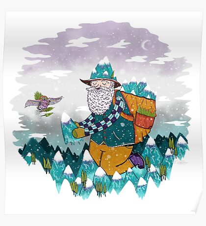 Mountain Guy and Owl Friend Poster