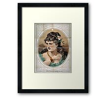 Performing Arts Posters Bust view of woman wearing rose in hair and green dress 1826 Framed Print
