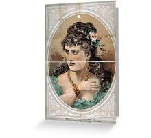Performing Arts Posters Bust view of woman wearing rose in hair and green dress 1826 Greeting Card
