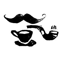 Mustache, pipe & cafe  Photographic Print